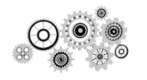 Floating gear grey icons 3D rendering Stock Photo