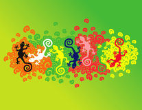 Floating geckos. Over colorfully spirals Vector Illustration