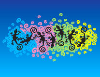 Floating geckos. Over colorfully spirals Royalty Free Illustration