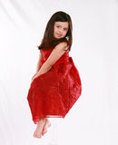 Floating Girl. Pretty little girl in red dress floating Stock Photography