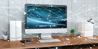 Floating glowing dot network on desktop 3D rendering Royalty Free Stock Photo