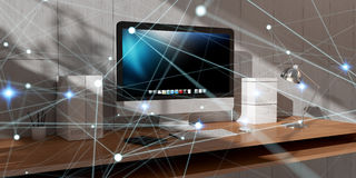 Floating glowing dot network on desktop 3D rendering Royalty Free Stock Image