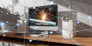 Floating glowing dot network on desktop 3D rendering Royalty Free Stock Images