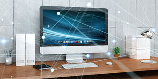 Floating glowing dot network on desktop 3D rendering Royalty Free Stock Photos