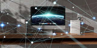 Floating glowing dot network on desktop 3D rendering Stock Photo