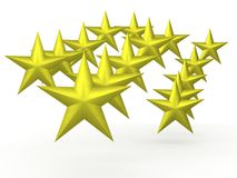 Floating Gold Stars on  White Background Stock Photography
