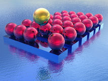 Floating golden sphere. Illustration of a floating golden sphere above a group of metallic red spheres Stock Image