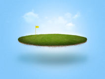 Floating Golf Green. A golf green floating in the air on blue background Stock Photography