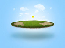Floating Golf Green. A golf green floating in the air on blue background Royalty Free Stock Photography
