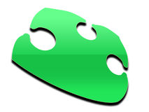 Floating green puzzle piece Stock Images