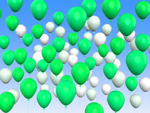 Floating Green And White Balloons Mean Freedom Stock Photo