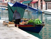 Floating greengrocer at Venice Stock Photos