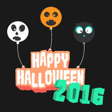 The floating Happy Halloween 2016 logo. The Happy Halloween 2016 text with three balloons. Skull balloon, Pumpkin balloon, and Owl balloon Royalty Free Stock Photos