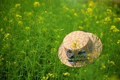 Floating hat in flower field Stock Photo