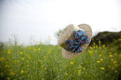 Floating hat in rape flower field Stock Photo