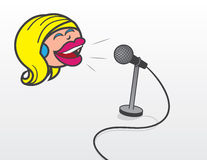Floating Head Woman With Microphone Stock Images