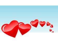 Floating hearts Royalty Free Stock Images