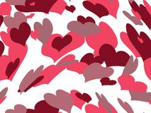 Floating hearts valentine background. Background filled with floating swirling hearts of red, purple, pink vector illustration