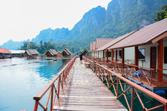 Floating home ,Cheow Lan lake, Thailand Stock Photos