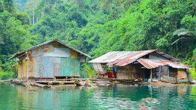 Floating home ,Cheow Lan lakein Thailand Royalty Free Stock Images