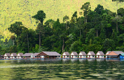 Floating home ,Cheow Lan lakein Thailand Royalty Free Stock Photography