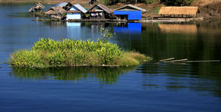 Floating Home  in Kwai River of Thailand. The Floating house of Mon Village at Sangkla Thailand Stock Photography