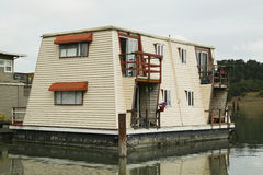 Floating home near Golden Gate Bridge in San Francisco Stock Photo