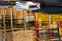 Floating Home Village Boat Reflection Inner Harbor Victoria Stock Image