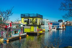 Floating Home Village colorful Houseboats Water Taxi Fisherman`s Wharf Reflection Inner Harbor, Victoria British Columbia Canada. Pacific Northwest. Area has stock photos