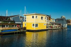 Floating Home Village Houseboats Fisherman`s Wharf.  royalty free stock photography