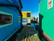 Floating Home Village Houseboats Fisherman`s Wharf.  royalty free stock images