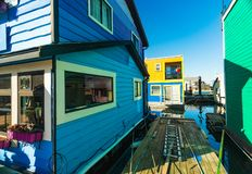 Floating Home Village Houseboats Fisherman`s Wharf.  royalty free stock photo