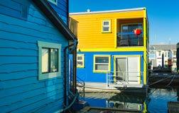 Floating Home Village Houseboats Fisherman`s Wharf.  stock photo