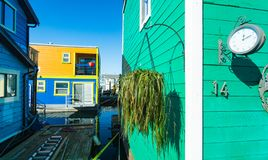 Floating Home Village Houseboats Fisherman`s Wharf.  royalty free stock photos
