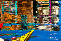 Floating Home Village Red Blue Kayaks Blue  Reflection Houseboat Stock Image