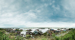 Floating Homes Cambodia. Homes on Tonle Sap Lake Stock Photography