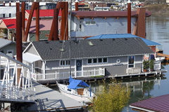Floating homes neighborhood, Portland Oregon. Royalty Free Stock Image