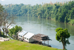 Floating hotel houses on Kwai river. Kanchanaburi Stock Images