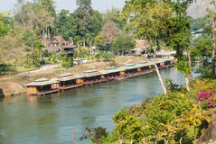 Floating hotel houses on Kwai river. Kanchanaburi Stock Photos