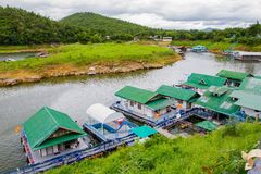 Floating hotel houses on Kwai river Royalty Free Stock Photography