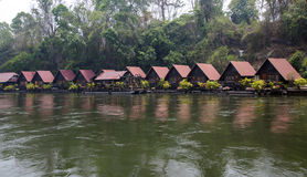 Floating hotel houses on the River Kwai Stock Photography