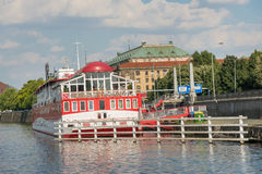Floating Hotel on Moldava River - Prague - Czech Republic Royalty Free Stock Image
