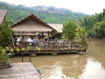 Floating hotel on River Kwai, Thailand Royalty Free Stock Images