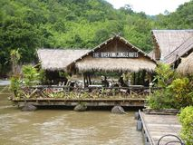 Floating hotel on River Kwai, Thailand Stock Photo