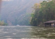 Floating hous. E of early morning on River Kwai in Kanchanaburi Stock Photos