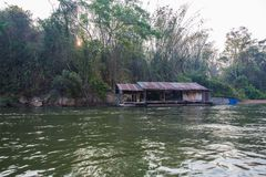 Floating hous. E of early morning on River Kwai in Kanchanaburi Royalty Free Stock Photos