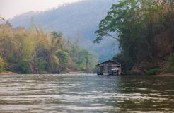Floating hous. E of early morning on River Kwai in Kanchanaburi Royalty Free Stock Photography