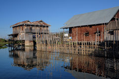 Floating House 02-Inle Lake Myanmar Stock Image