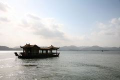 Floating house boats in lake Royalty Free Stock Image