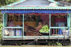 Floating House Cambodia Stock Photo